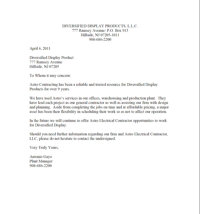 diversified display products letter of recommendation